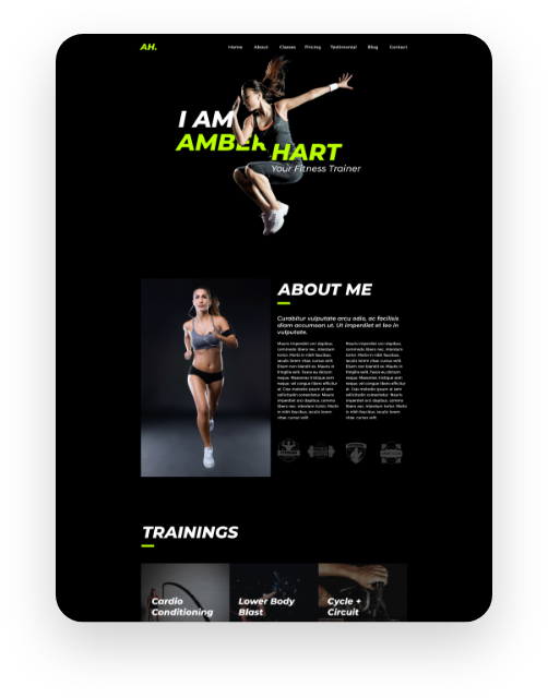 Aryx Fitness Trainer Site Demo